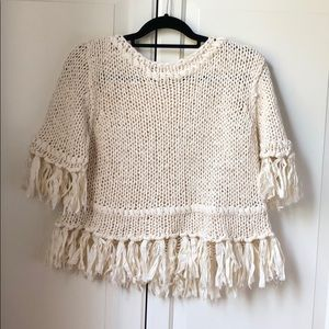 Free People loose knit cream sweater